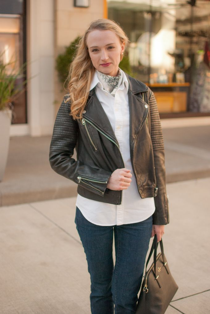 My weekend uniform of Topshop moto jacket, white oxford shirt, boyfriend jeans and black accessories