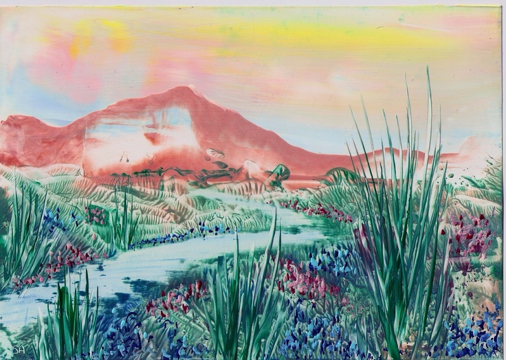 mountain view one of my encaustic art paintings - Sarah Andrews