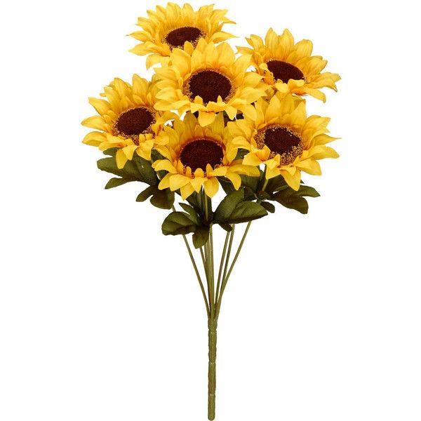 """15"""" Yellow Sunflower Bush By Ashland ❤ liked on Polyvore featuring home, home decor, yellow home decor and yellow home accessories"""