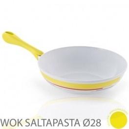 Sartén wok Cromoterapia 28 cm.    Sartén honda para saltear, con revestimiento ceramico blanco, mango ergonomico color amarillo. Medidas Ø28 cm. h.7,5 cm. Apta para inducción.
