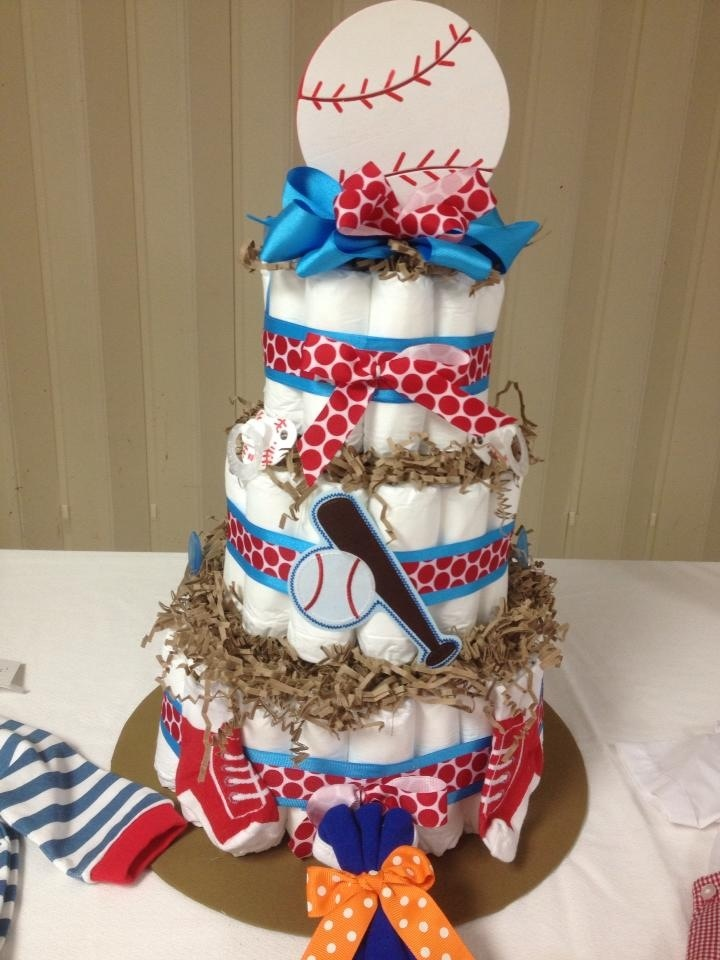 Baseball Diaper Cake Baby Shower Diapers Diaper Cake