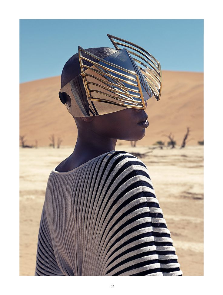 Christoph Köstlin - those without Shadows // 07 // Namibia // Sossusvlei // desert editorial // fashion editorial // black skin // fashion model // african model // south africa // golden helmet