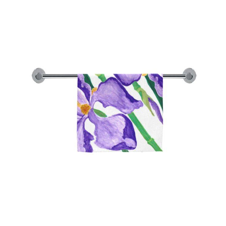 "Diagonal Purple Iris Custom Towel 16""x28"""