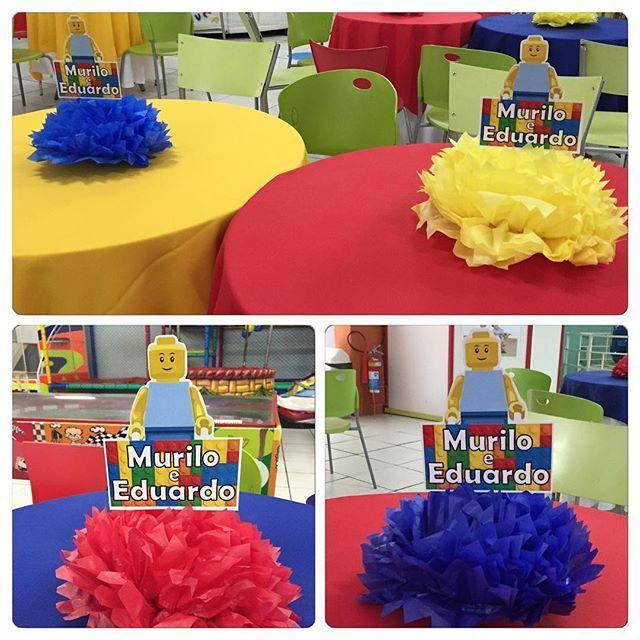 Fizemos também os centros de mesa da festa dos irmãos Murilo e Eduardo! #Lego #centrodemesa #lembrancinhas #festadupla #festamenino #kidsparty #ratchimbum #novaodessa