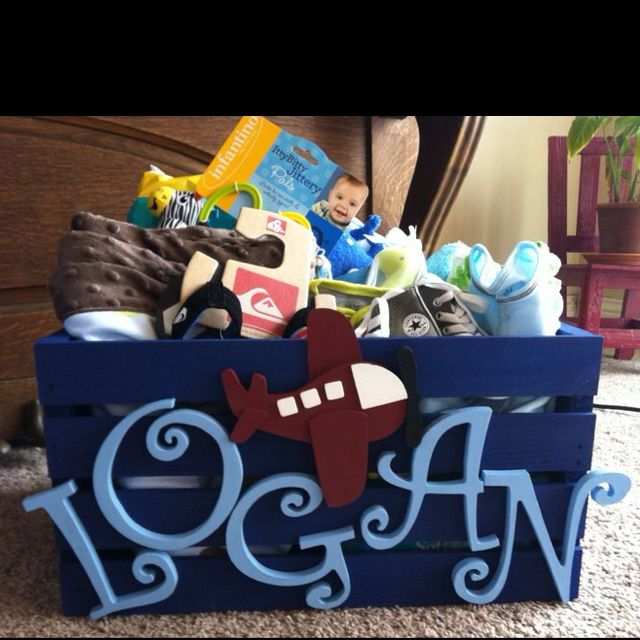 Baby shower gift idea. The crate, letters and airplane are all from Michaels. Paint them and then fill the crate with gifts. Also good for later for storage or for pictures!