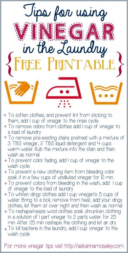 5cd854d5c2ea689ec36c6506148f71ed  laundry rooms laundry tips Tips for using Vinegar in the Laundry {free printable}   Ask Anna