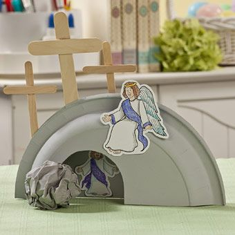 Easter-Craft-He-Is-Risen-Tomb (April). Color paper plates - brad and paper to make moveable rock