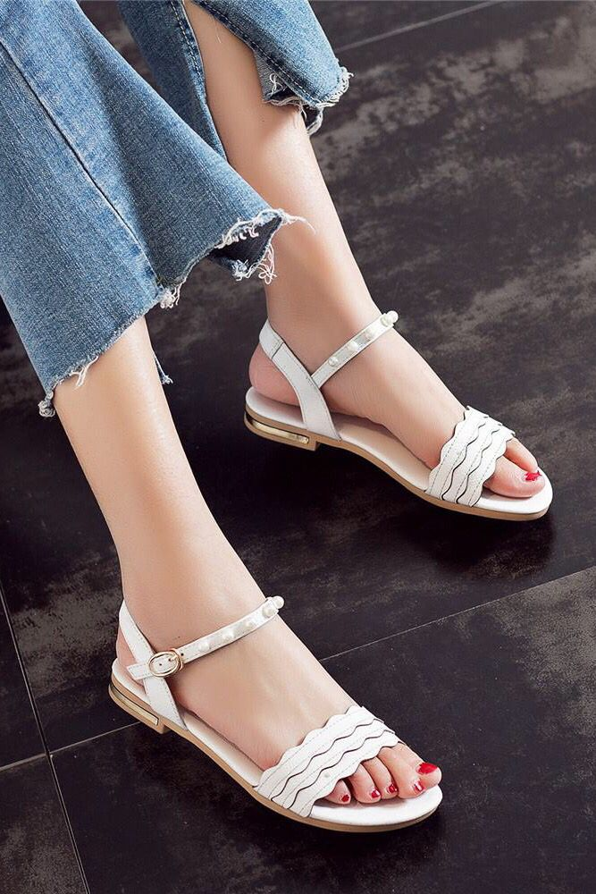 bfecf5dc07dd Women genuine leather sandals simple comfortable ladies flat white shoes  this summer. Casual chic classy street style ootd ideas.
