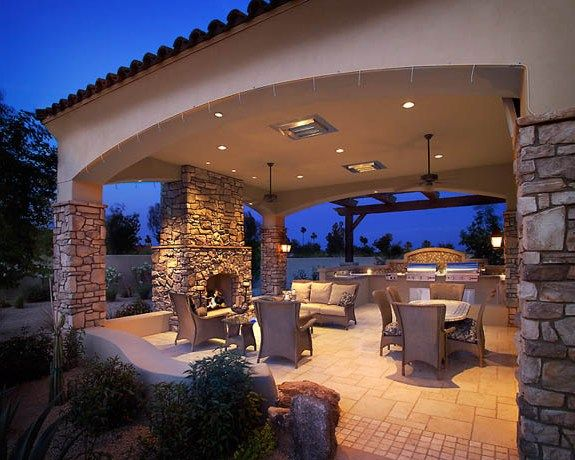 Modern backyard covered patio ideas with fire-pit This is essentially a pergola but it has something on top of it for rain cover. Description from pinterest.com. I searched for this on bing.com/images