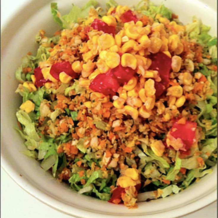 Taco Salad Recipe | Home of The 80/10/10 Diet by Dr. Douglas Graham, Low-Fat Vegan Raw Food Health, Fitness, and Sports Performance 1 medium Romaine Lettuce  2 large Tomato  1 medium Avocado  ½ cup Freeze Dried Corn  ½ cup Lime Juice  ½ cup Fresh Corn or Freeze dried corn  1 Tbsp Celery Powder  1 tsp Cumin  3 small Carrot  ⅛ medium Cabbage  Puy lime juice corn mixture into the food processor and add cabbage, carrot, celery powder and cumin.