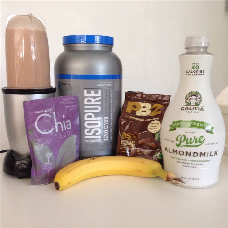 Post workout shake: Chocolate milk, chia seeds, Isopure whey protein isolate, PB2 powdered chocolate peanut butter, almond milk and a banana.