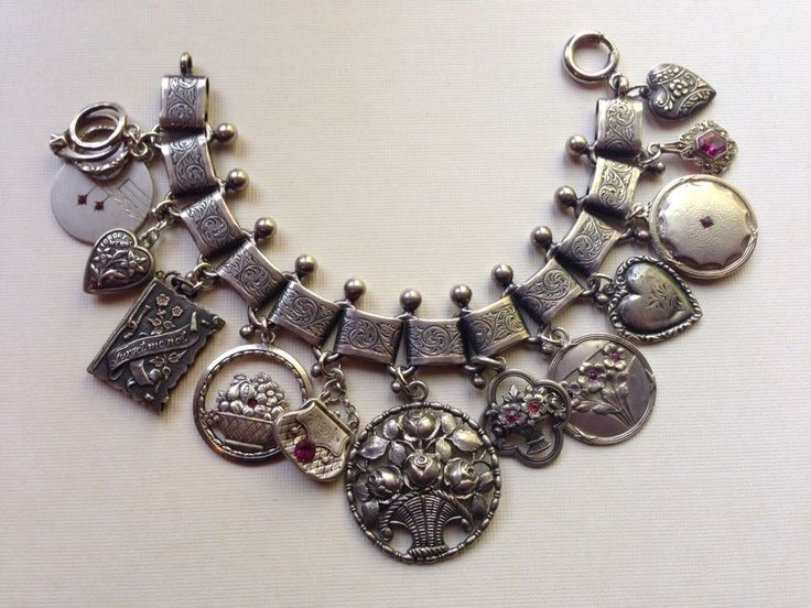 eCharmony Charm Bracelet Collection - Antique Book Chain & Silver Charms