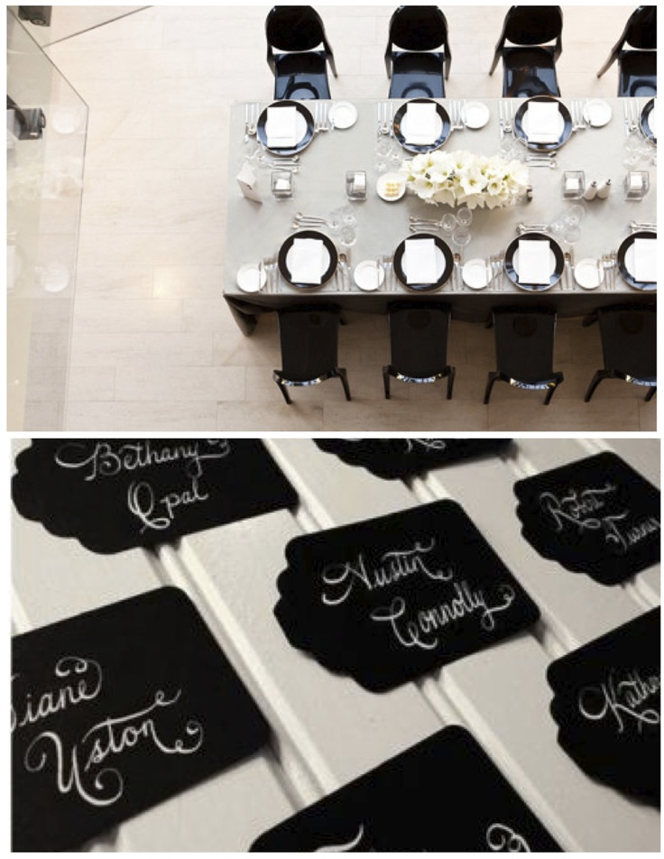 Black and White tablescape and details
