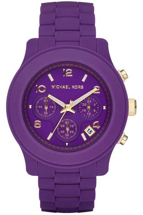 New michael kors mk5294 chrono purple-gold women watch ...