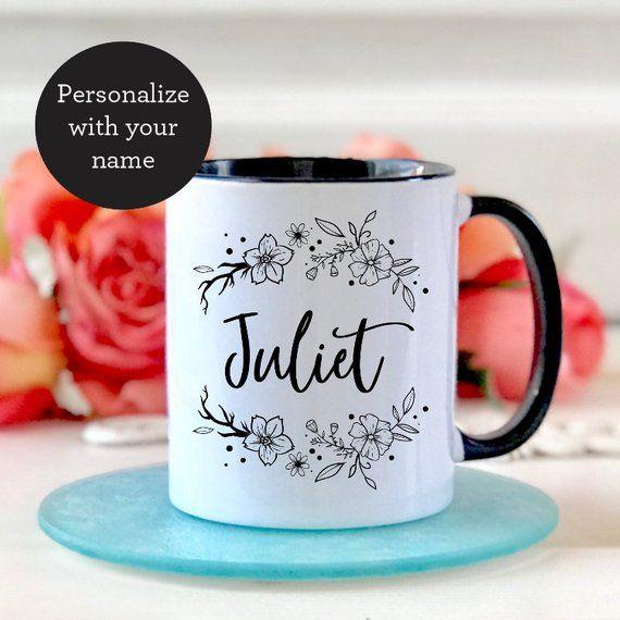 b71d611be15e2 Custom Name Mug - Personalized Mug - Customized Mug - Floral Coffee ...