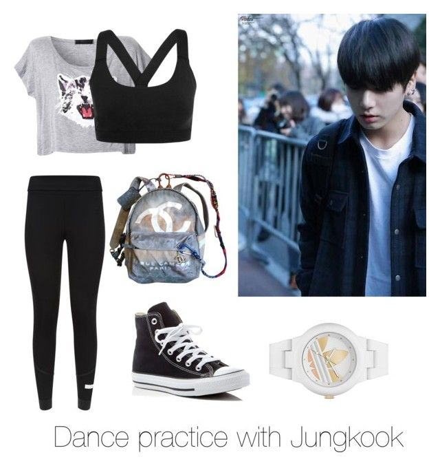 """""""Dance practice with Jungkook"""" by bts-outfit-imagines on Polyvore featuring Ivy Park, adidas, Converse and Chanel"""