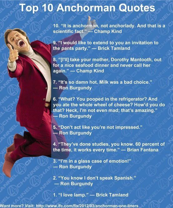 Best Comedy Movie Quotes Of All Time: 25+ Best Anchorman Quotes On Pinterest