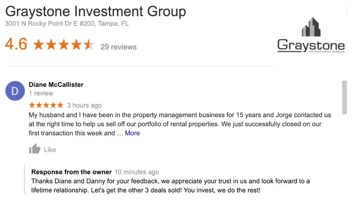 Thanks Diane And Danny For Your Feedback We Appreciate Your Trust In Us And Look Forward To A Lifetime Relat Investing Investment Group Real Estate Investing