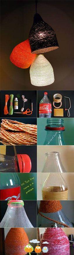 Luminaire ficelle et bouteilles plastiques