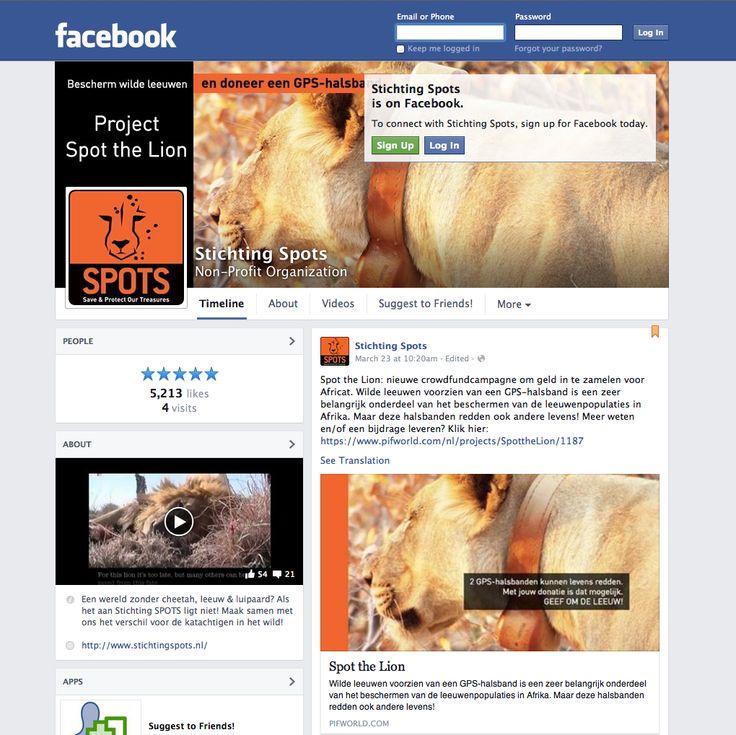 Uiteraard heeft Stichting SPOTS ook een eigen Facebook pagina die dagelijks wordt bijgehouden met de belangrijkste, leukste en mooiste nieuwtjes over SPOTS en natuurlijk de Big Cats! Like onze pagina en blijf ook op de hoogte!