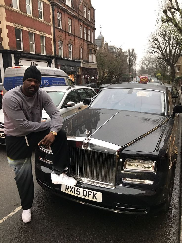 Derek Chisora posing whilst out in our series 2 Rolls Royce Phantom