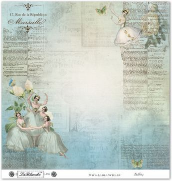 Beautiful blue paper with ballerinas in white & light blue costumes, French writing.