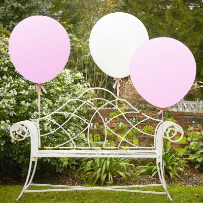Ballons blancs et roses géants - Lot de 3
