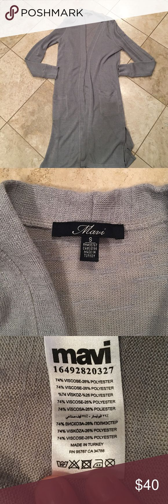 Mavi long light grey cardigan. Like new long grey cardigan with side slots and two pockets. Would be great paired with boyfriend jeans and booties or flats. Pinterest look worthy! Mavi Sweaters Cardigans