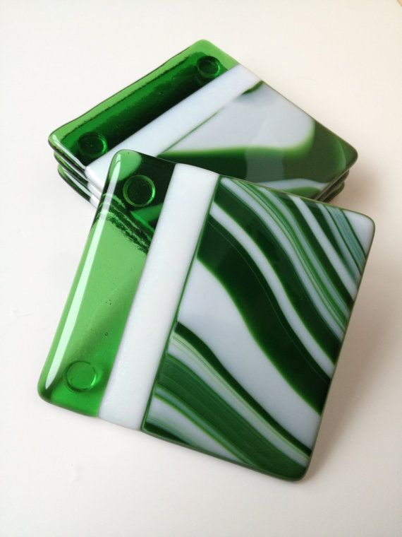 Fused Glass Coasters Green & White Swirl by SmudgePotz on Etsy, $30.00