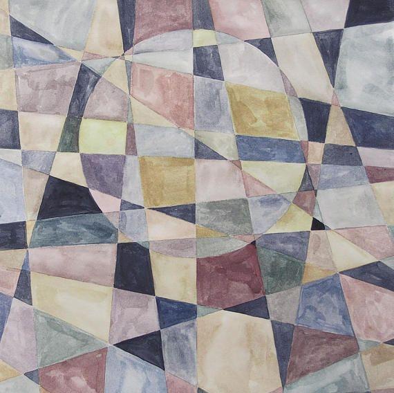 Geometria abstracta cuadro en acuarela hecho a mano arte