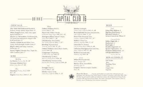 Art of the Menu: Capital Club 16