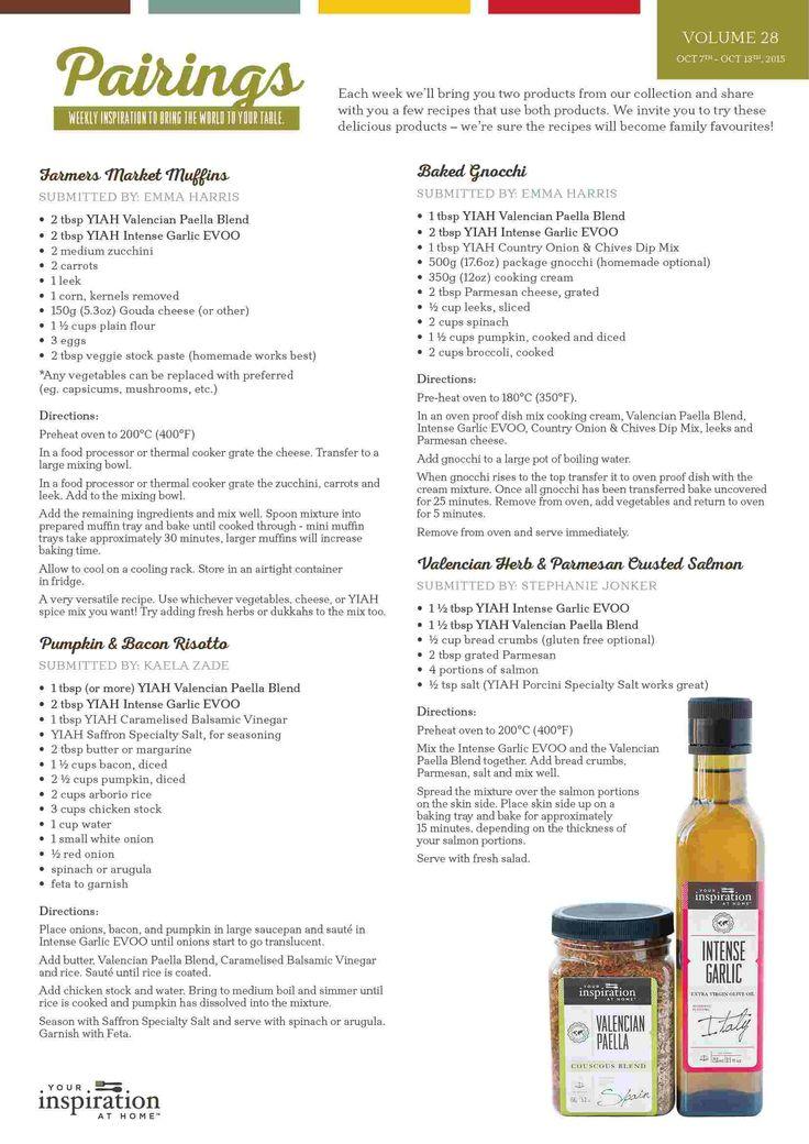 yiah week 28 pairings special recipes