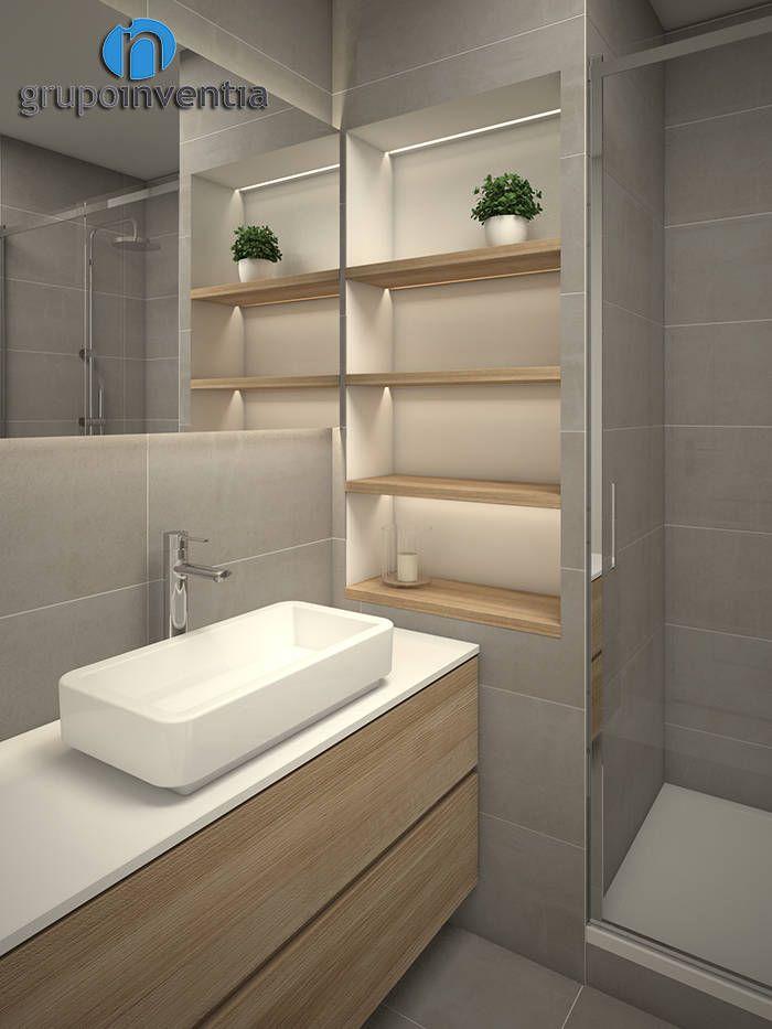 Busca imágenes de Baños de estilo moderno en beige: Reforma de baño. Encuentra las mejores fotos para inspirarte y crea tu hogar perfecto.