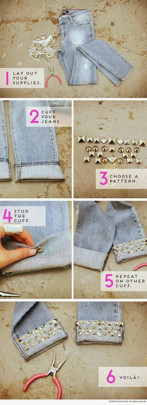 Diy Studded jeans by metal studs