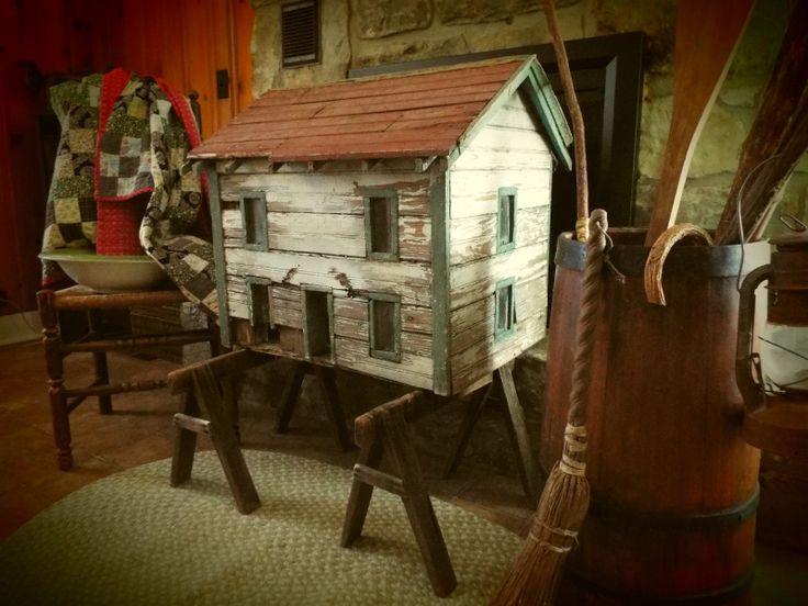 Antique dollhouse ebay woodworking projects plans for Primitive house plans