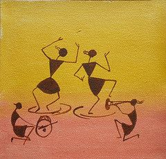 Dance With Me- Canvas Based Warli Painting - 6 x 6 inches (Creations - The Art Shop) Tags: original india art yellow painting dance acrylic village folk indian small tribal canvas aboriginal warli varli