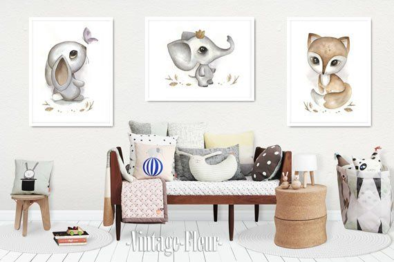 3set poster bunny, fox, elephant pictures nursery A4/A3