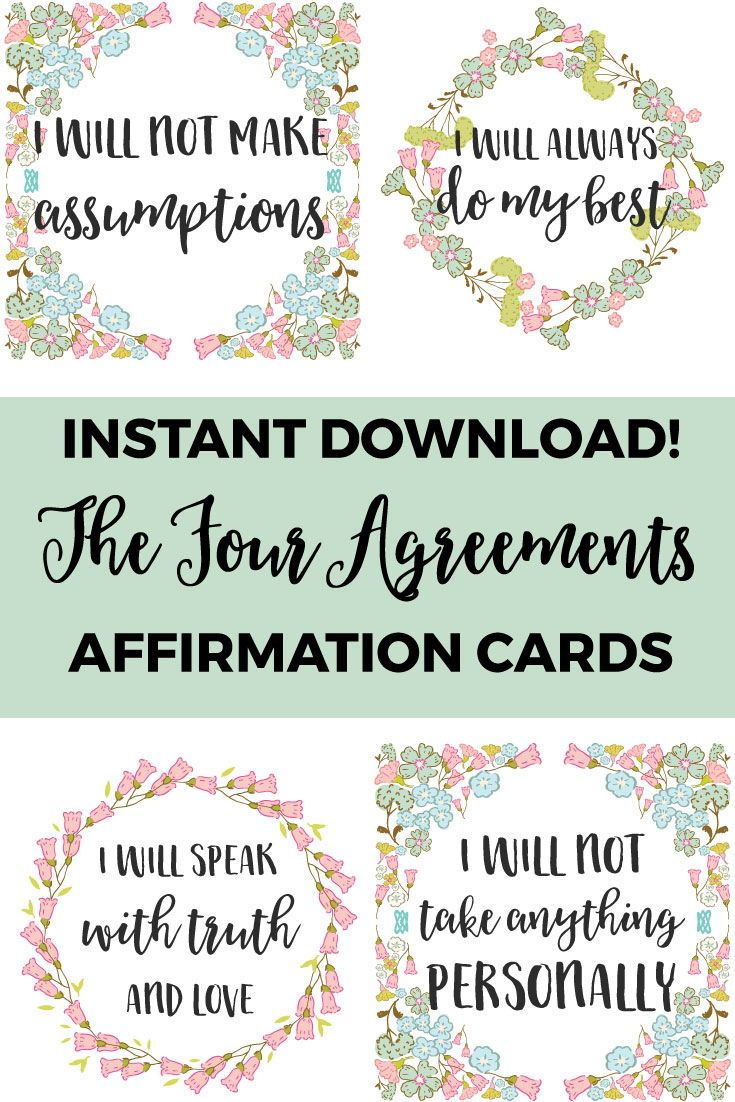 Printable affirmation cards the four agreements for Best home office video cards