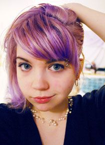 Put Manic Panic Lie Locks dye in a bit of deep conditioner. It leaves a streaky tint of lilac in lightened hair.