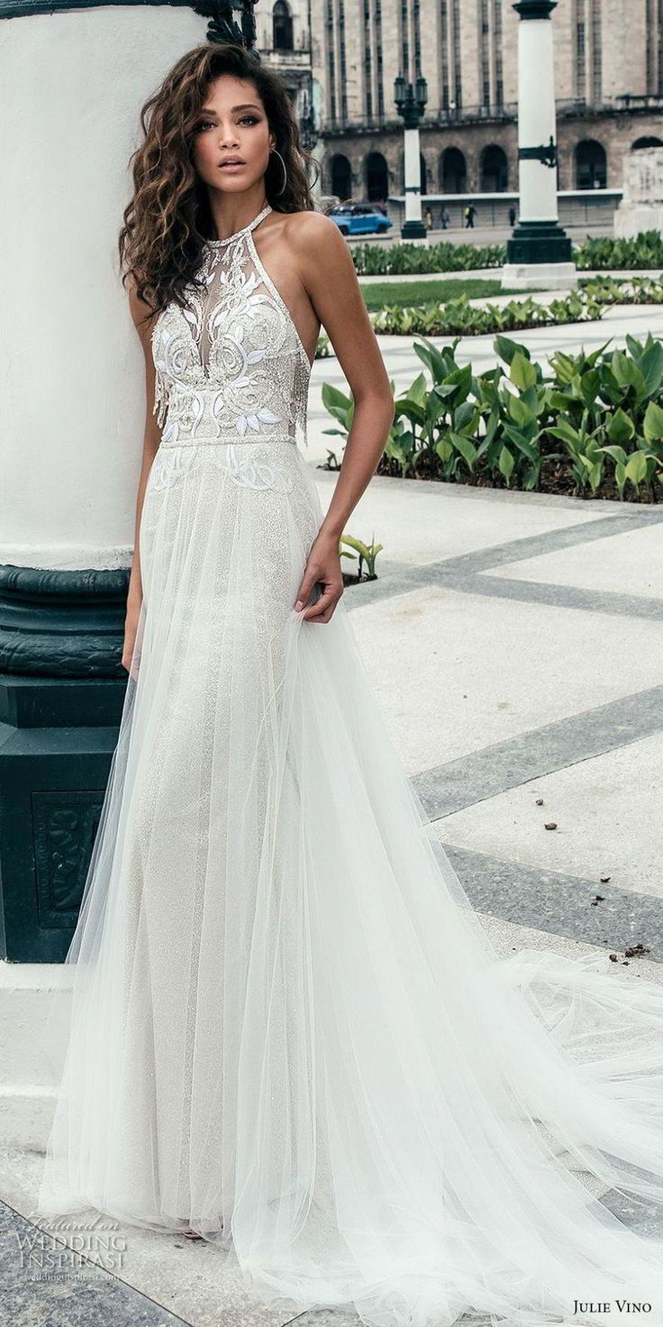 julie vino fall 2018 havana sleeveless jewel halter neck heavily embellised bodice elegant romantic soft a line wedding dress open back chapel train (3) mv #WeddingMakeupForBrownEyes
