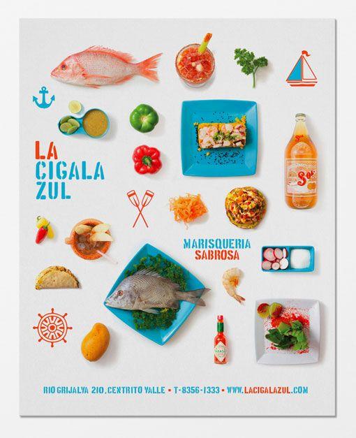identity for La Cigala Zul, a seafood restaurant in Mexico, by Eduardo Hernández.