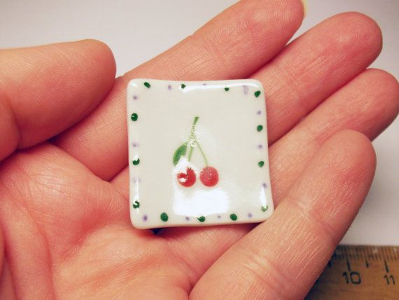 1 pc square white plate with dots and cherries by rabbitssupplies