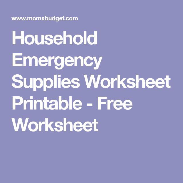 Household Emergency Supplies Worksheet Printable - Free Worksheet
