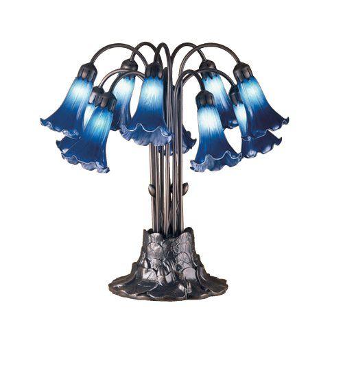 Meyda Tiffany 14397 Tiffany Indigo Blue Pondlily Tropical Table Lamp MD-14397