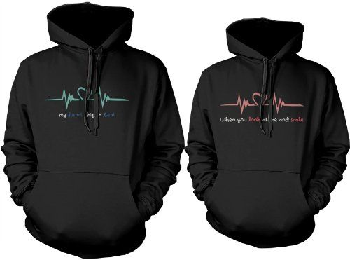 Matching hoodie sweatshirts for newlyweds - Heartbeat Couples Hoodies by 365 in love