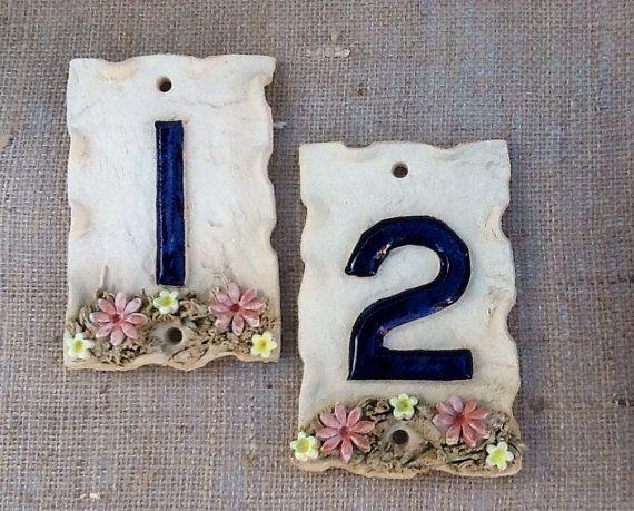 Door numbers handmade ceramic door number Individual by Sallyamoss, £10.00