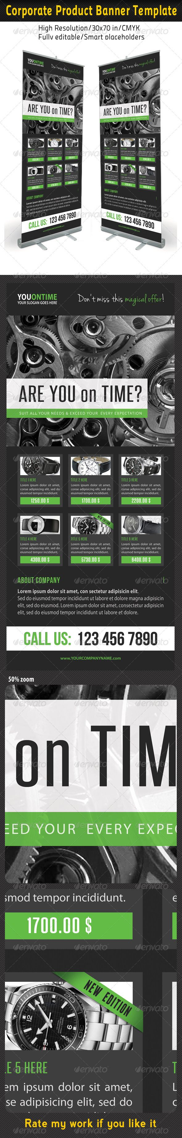 High impact Roll-Up Banner Template Layout, perfect for business advertisement o...