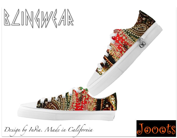 Designer sneakers or party shoes. Ethnic sequins design low tops canva – Artikrti