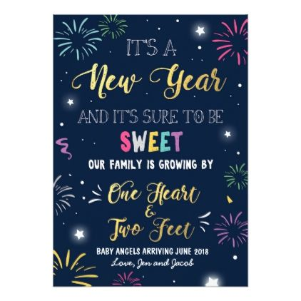 New year pregnancy announcement card 2018 - New Year's Eve happy new year designs party celebration Saint Sylvester's Day
