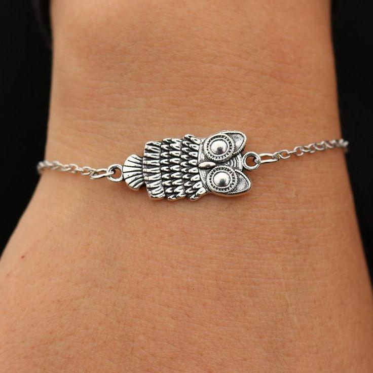 Wallmart.win SL181 Vintage Owl Bracelets pulseras mujer For Women Retro Silver Plated Bohemian Jewelry hibou Bracelet feminina 2017…